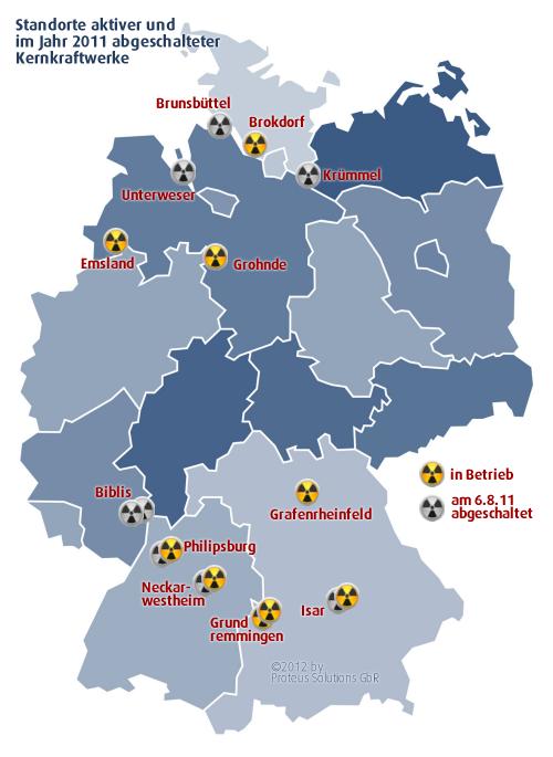 atomkraftwerke deutschland karte Info Diagramm: verbleibende aktive Kernkraftwerke in Deutschland  atomkraftwerke deutschland karte
