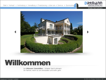 Proteus Solutions: Screenshot Dittmann Immobilien Website
