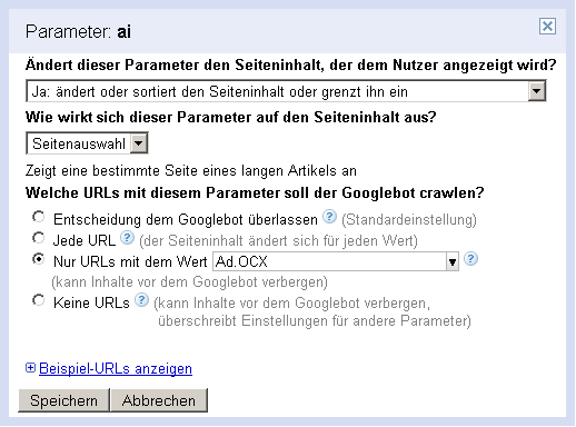 Google Screen Parameterbehandlung