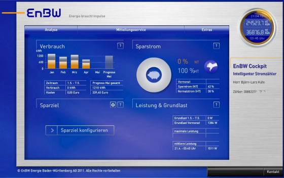 Screenshot der EnBw-Software