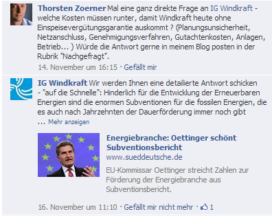 Timeline IG Windkraft auf Facebook